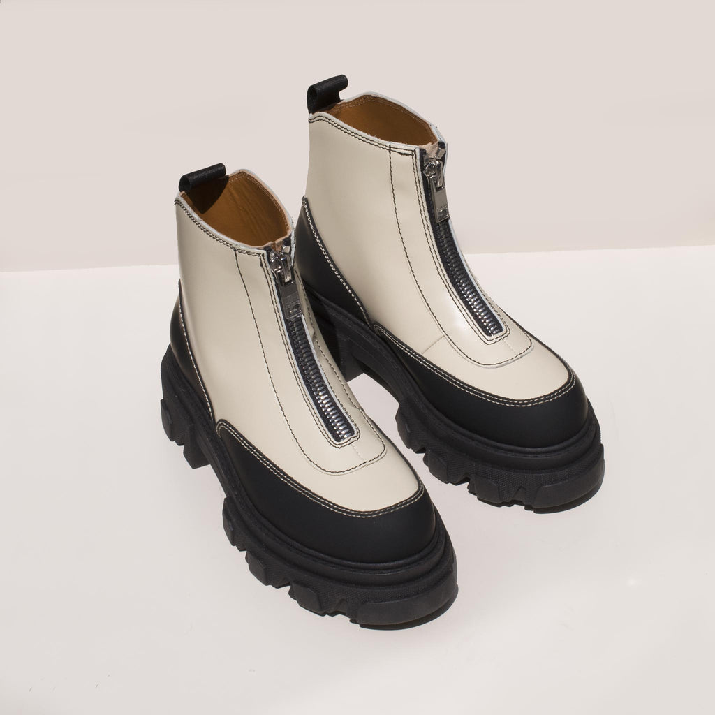 Ganni - Zipper Boot - White, angled view, available at LCD.
