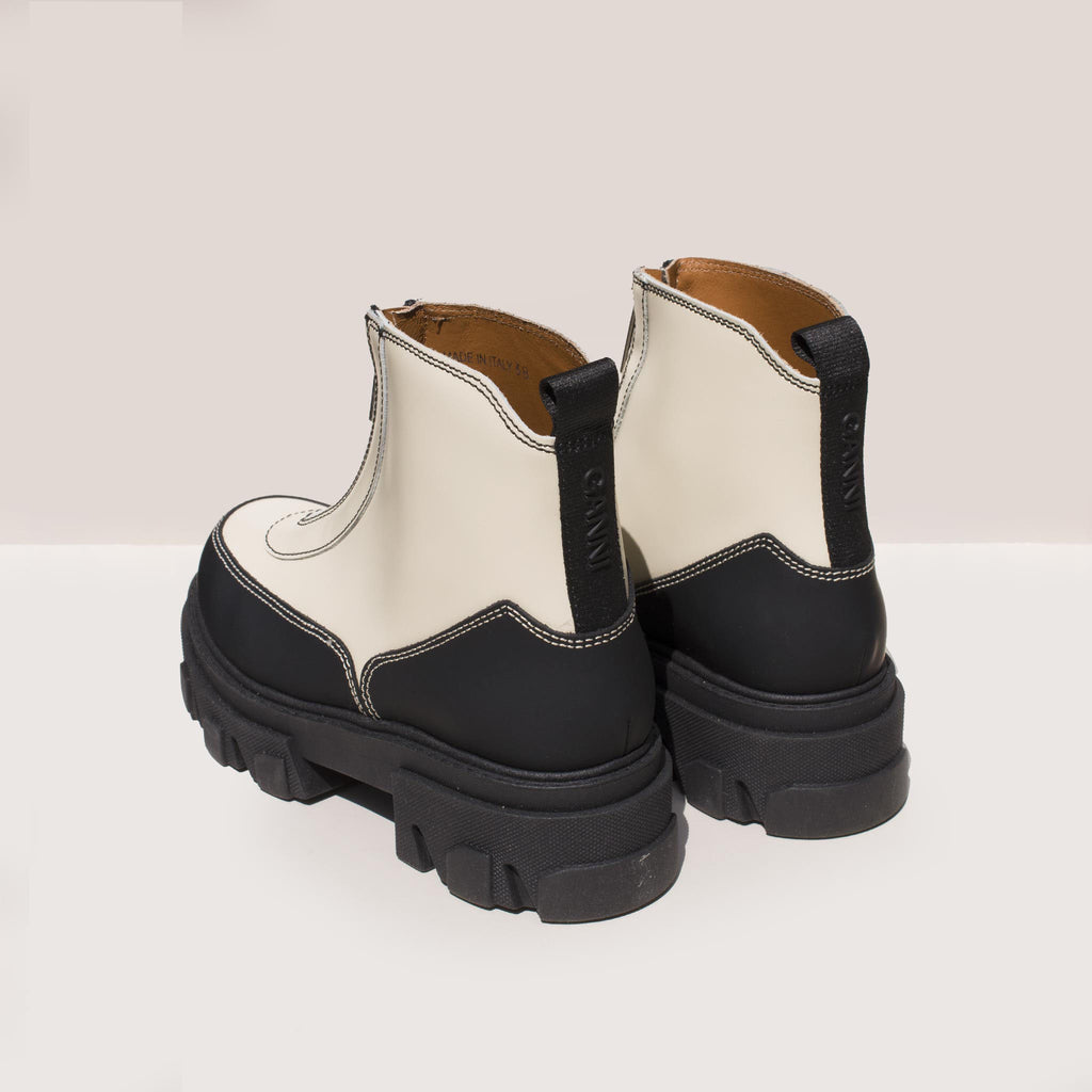 Ganni - Zipper Boot - White, back view, available at LCD.