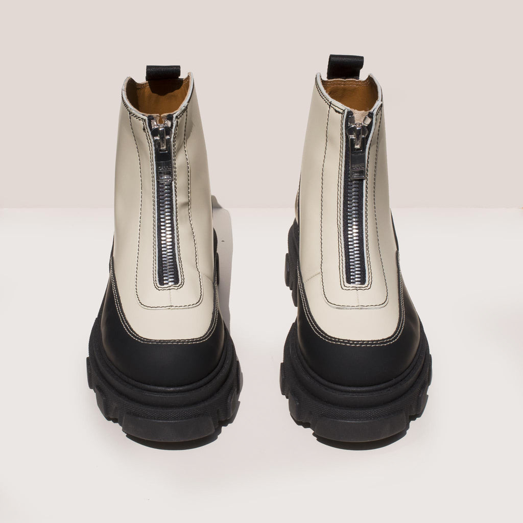 Ganni - Zipper Boot - White, front view, available at LCD.