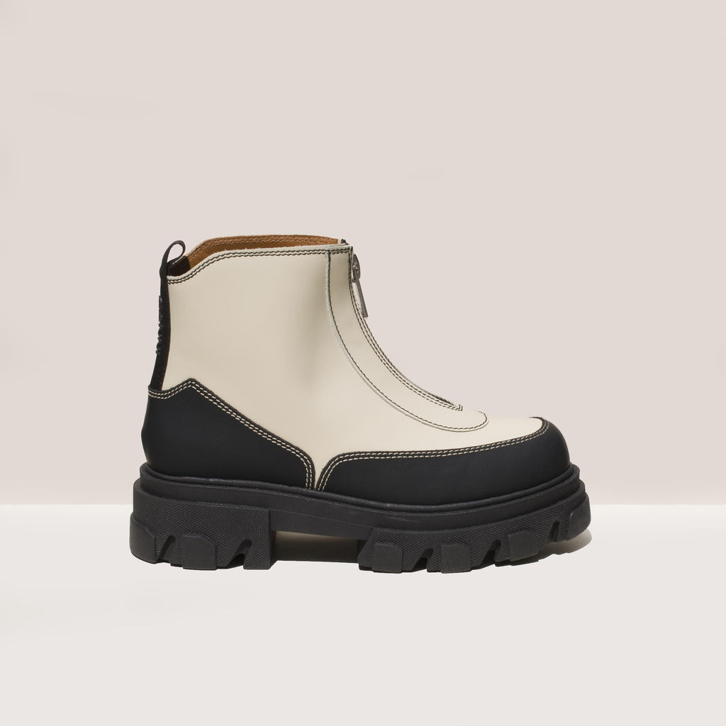 Ganni - Zipper Boot - White, side view, available at LCD.