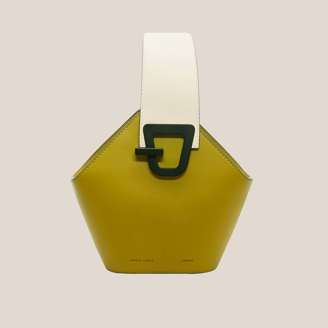 Danse Lente - Mini Johnny Leather Bucket Bag - Olive/Black, front view, available at LCD.