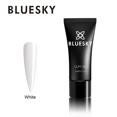 Bluesky Gum Gel 60ml White  - With 10 Extension Tips