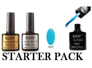 Starter Pack! Bluesky Base & Top Coat +80555 soak off nail uv gel polish !!!