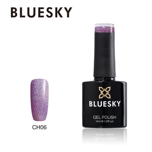 Bluesky CH06 HOLOGRAPHIC GLITTER UV/LED Soak Off Gel Nail Polish 10ml