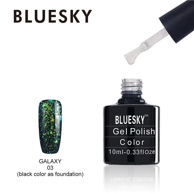 GX03 - Bluesky GALAXY COLLECTION Gel Nail Polish - Chameleon Flakes