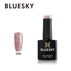 S06N Bluesky Pink Rose Glitter Sparkle 10ml - UV/LED Soak Off Gel Nail Polish