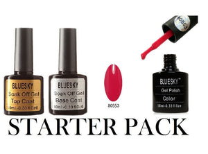 Starter Pack! Best-Bluesky Base & Top Coat +80553 soak off nail uv gel polish !!!