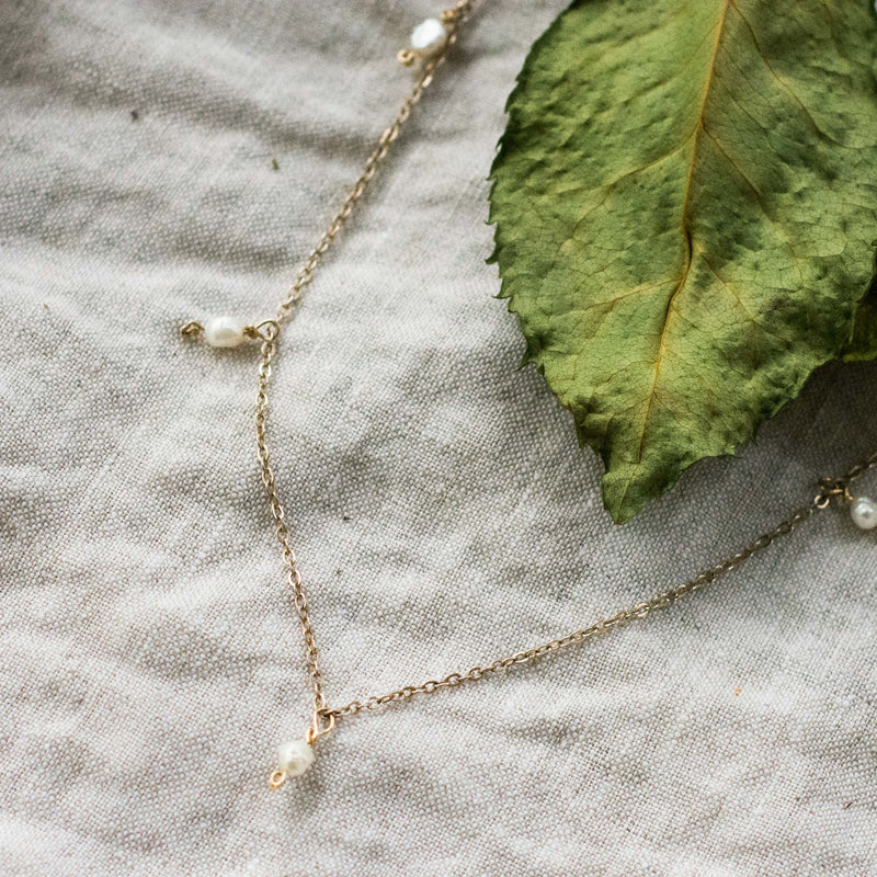 'Annie' Tiny Freshwater Pearl Charm Necklace