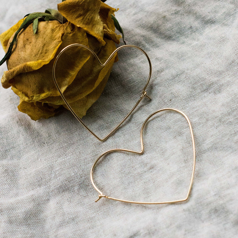 Heart Hoop Earrings Silver or Gold