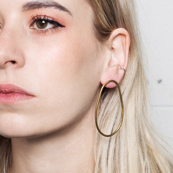 'Emily' Elongated Hoop Earrings with Stud Back