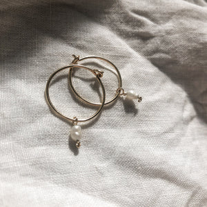 'Skye' Baby Pearl Hoop Earrings - Gold or Silver