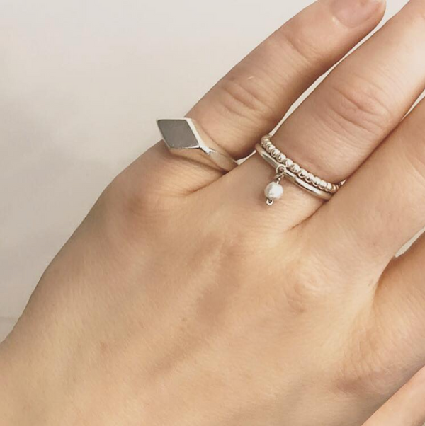 'Primrose' Tiny Freshwater Pearl Charm Ring