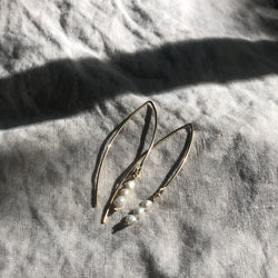 Marquise Hook Earring with Baby Pearls