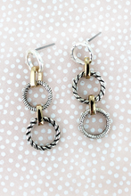 Load image into Gallery viewer, Modern Linked Ring Earrings (two colors)