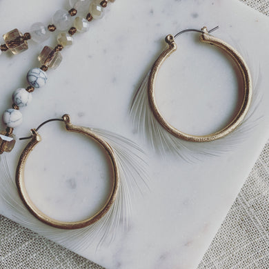Fab Feather Hoop Earrings