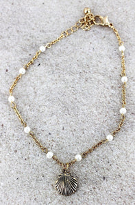 Pearl Peach Clam Shell Anklet
