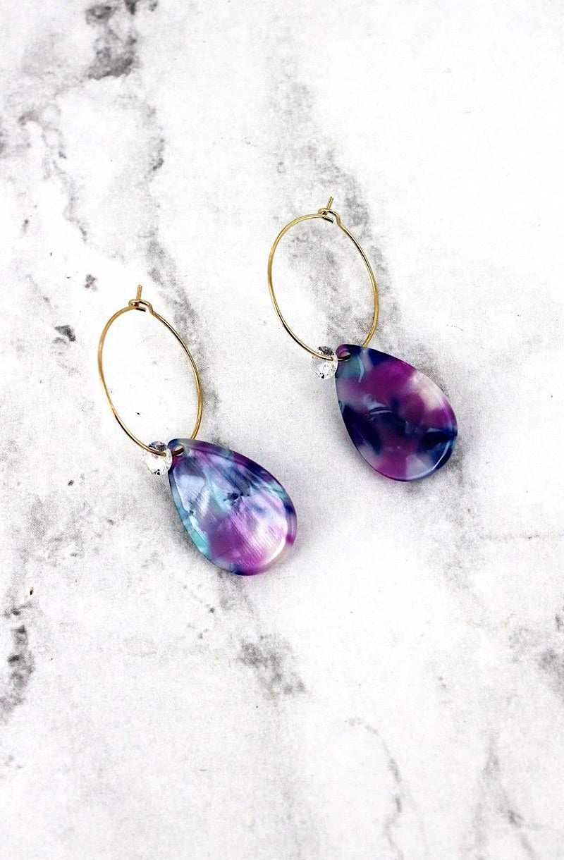 Purple Marbled Earrings