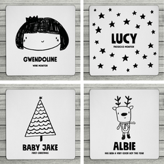 Fun Faces Mix and Match Personalised Christmas Coasters