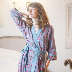 Rambling Rose Cotton Kimono Dressing Gown Robe