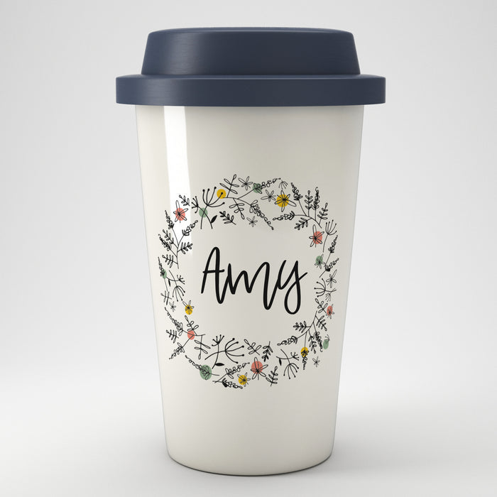 Floral Personalised Name Eco Coffee Travel Mug