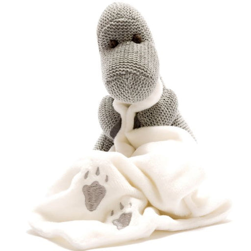 Best Years Grey Knitted Diplodocus Dinosaur With Blanket