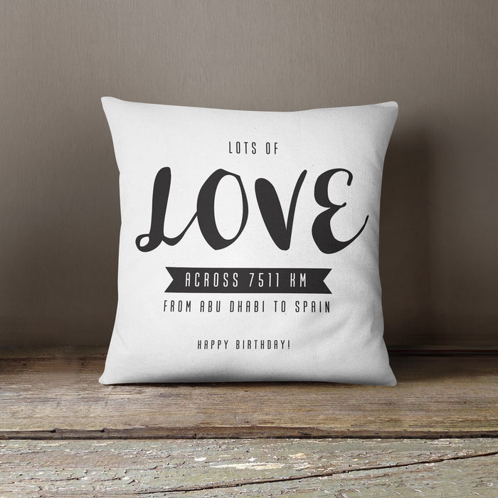 Love Across The Miles Hugs Cushion