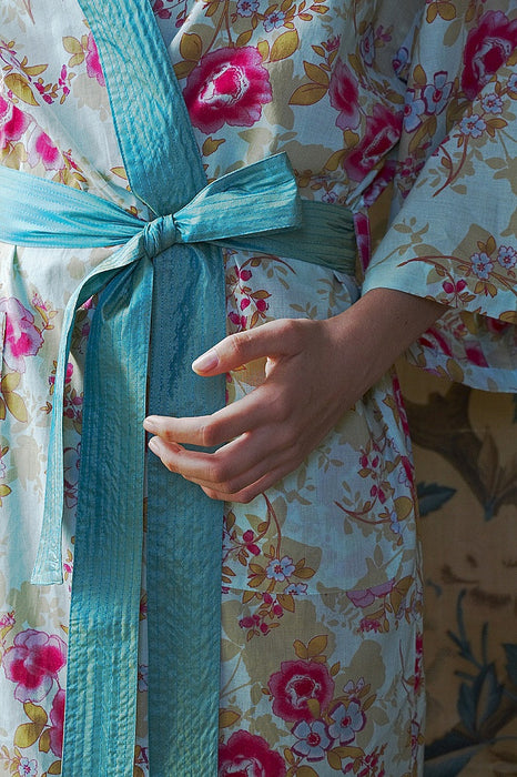 Caro London Blue Beautiful Cotton Wrap Kimono