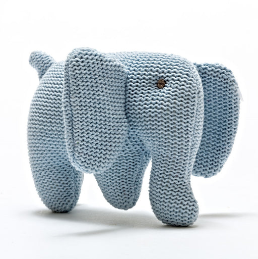 Organic Knitted Blue Elephant Rattle