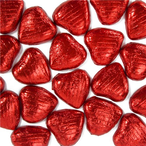 5 x Mini Red Foiled Chocolate Hearts