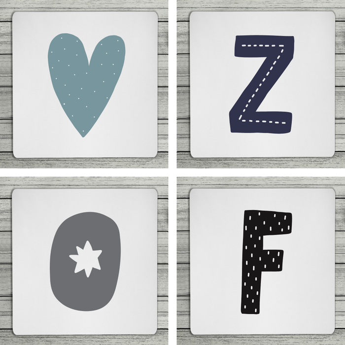 Fun Scandi Personalised Initial Coaster (Mix & Match Colours)