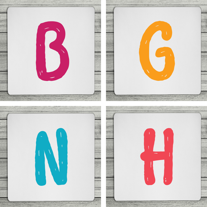 Bright & Bubbly Personalised Initial Coaster (Mix & Match Colours)