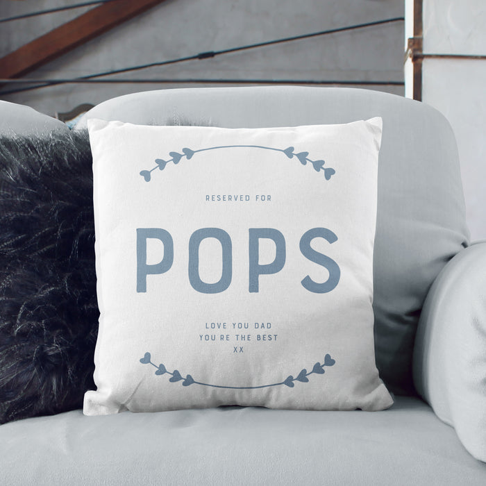 Personalised Father's Day 'Happy Place' Cushion - Various Colours