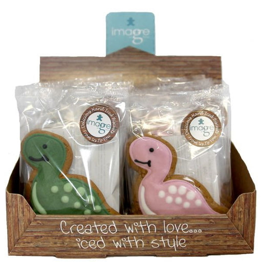 Dinosaur Iced Gingerbread Biscuit - Pink Or Green