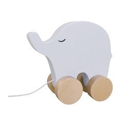 Grey Elephant Wooden Pull Along Toy