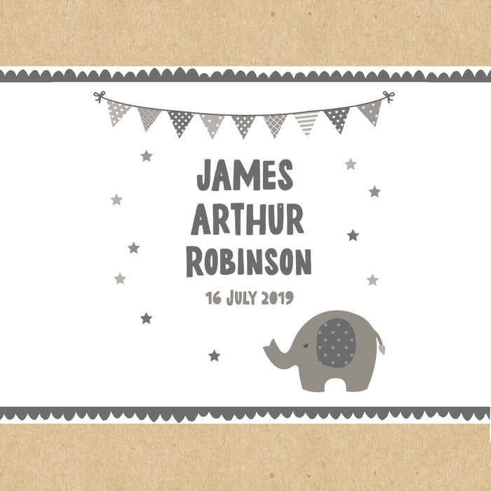 Personalised Grey Baby Elephant Gift Box