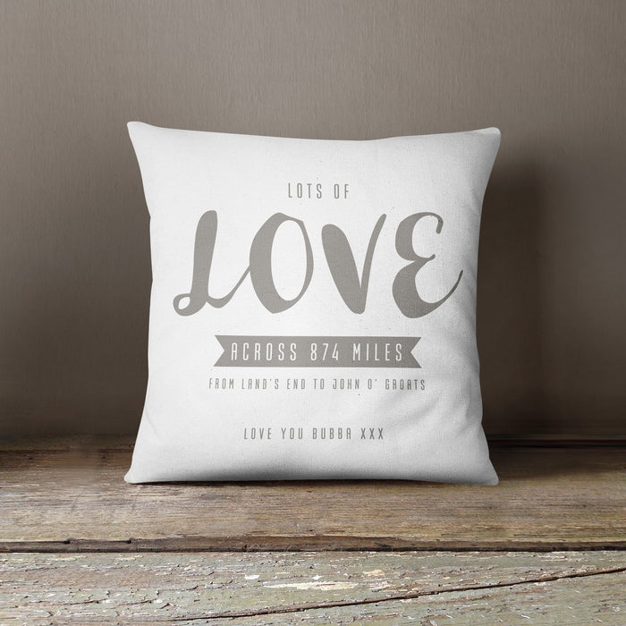 Personalised Love Across The Miles Cushion - Various Colours