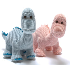 Organic Knitted Diplodocus Dinosaur Rattle - Pink Or Blue