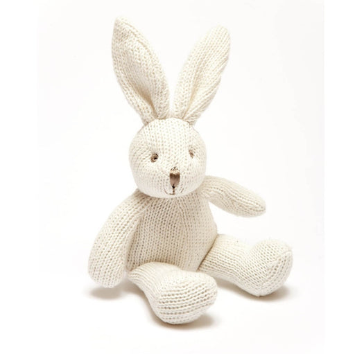Organic Cotton Knitted White Bunny Rattle