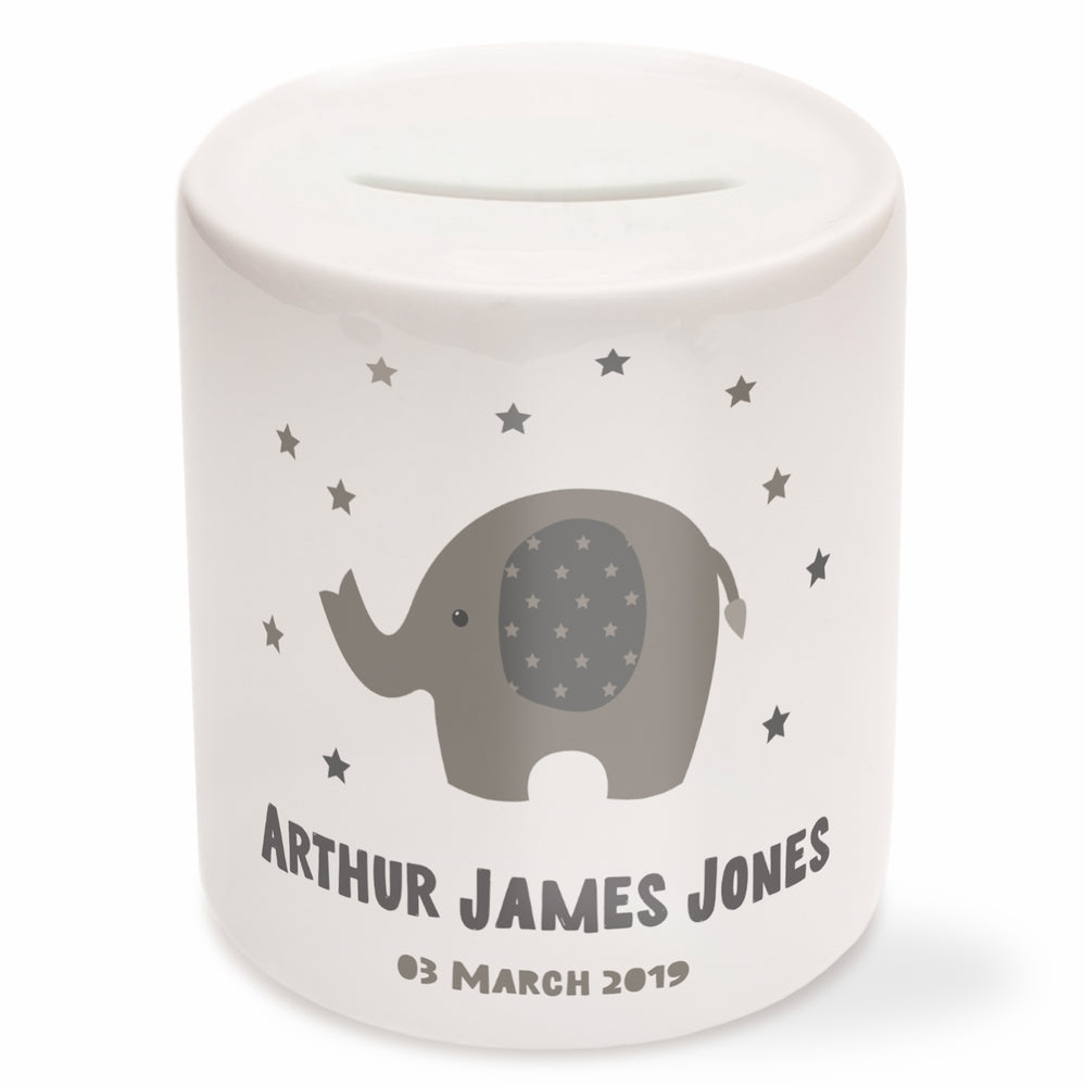 Personalised Elephant Money Box New Baby Gift