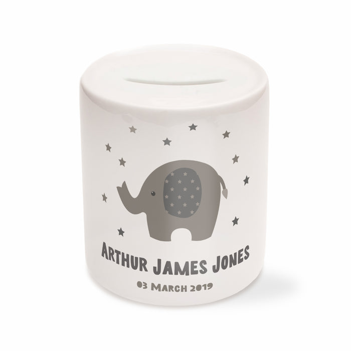 Personalised Elephant Money Box - Grey, Pink or Blue