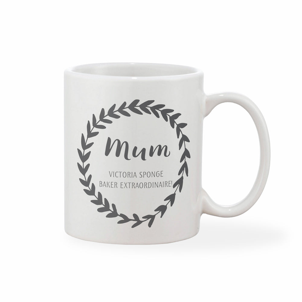 Personalised Message Leaf Loop Mother's Day Mug