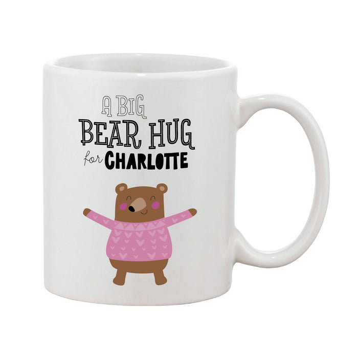 Bear Hug Personalised Name Coaster (Blue Or Pink)