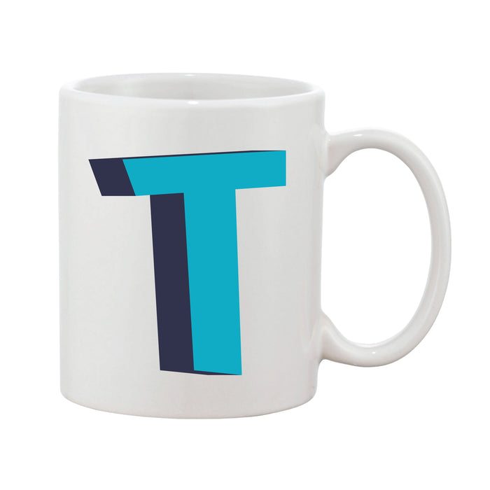 Bright 3D Initial Mug (Personalised Message Optional - Various Colours)