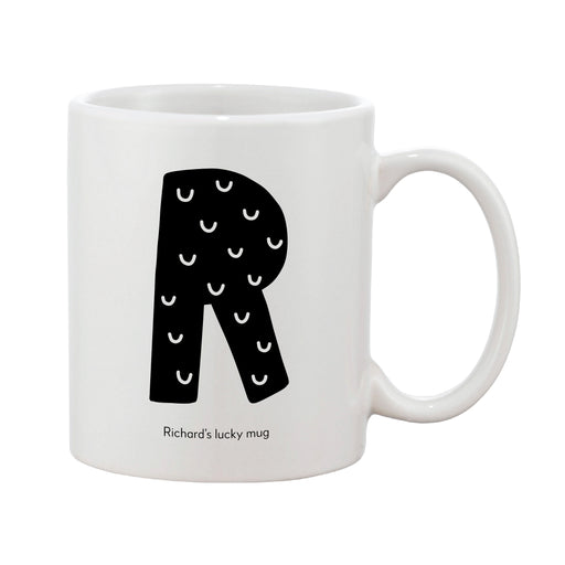 Fun Scandi Initial Mug (Personalised Message Optional - Various Colours)