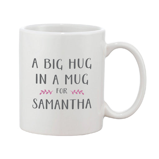 Big Hug In A Mug Grey & Pink Personalised Mug