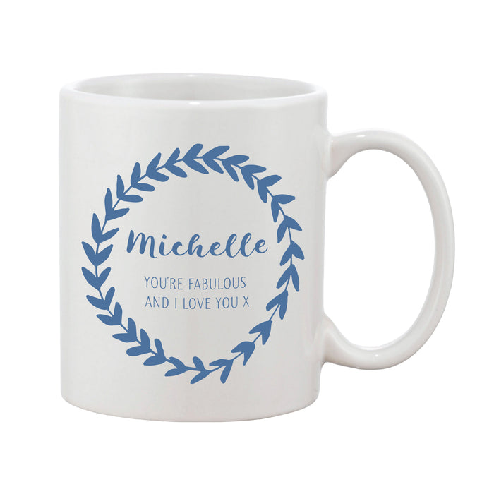 Leaf Loop Thank You Mug With Personalised Message (Various Colours)