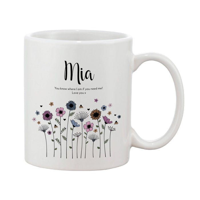Meadowfield Ditsy Floral Mug With Personalised Message (Various Colours)