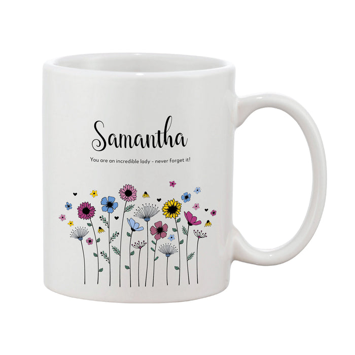 Meadowfield Ditsy Floral Mug With Personalised Message