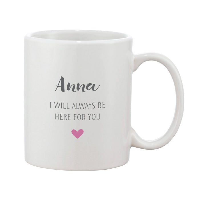 Grey & Pink Heart Mug With Personalised Message