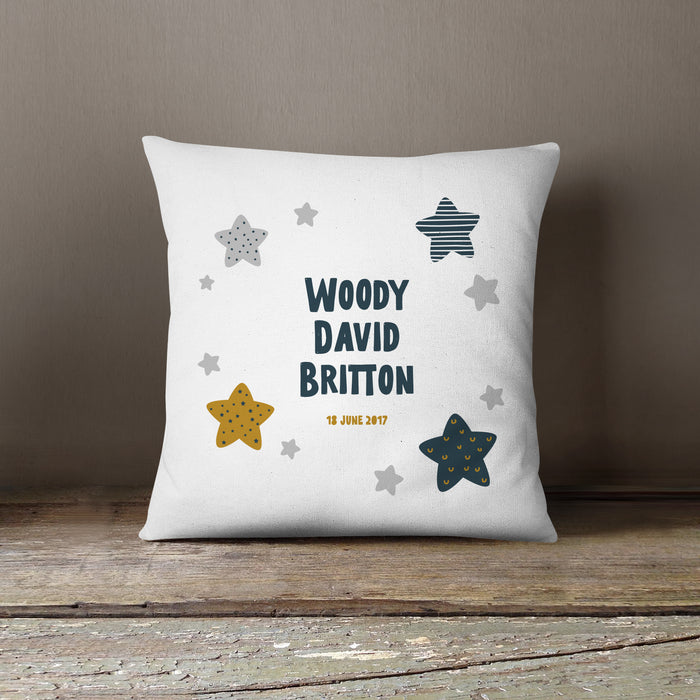 Personalised New Baby Scandi Style Cushion | Stars, Clouds, Moons or Hearts